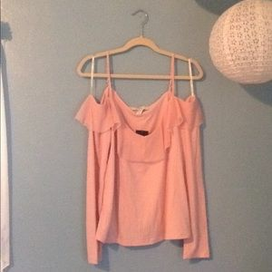 Forever 21+ Baby Pink Off-The-Shoulder Frill Top